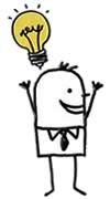 cartoon man idea light bulb image