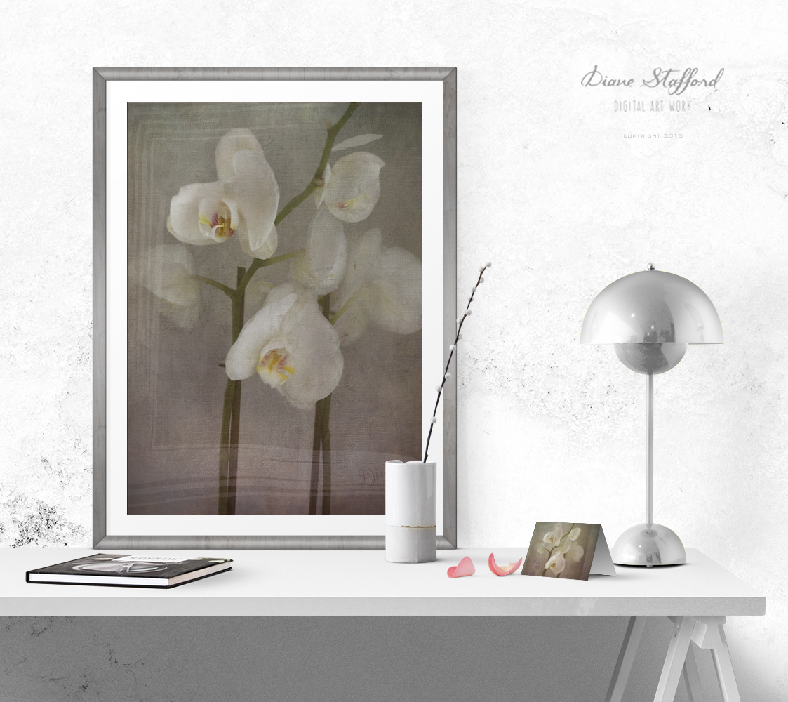 Orchid Poster above desk